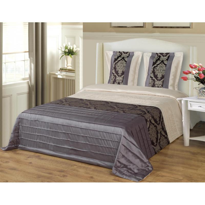 Prabangios dekoratyvinės lovatiesės internetu. Giolios violetinės spalvos su kreminės spalvos ir žakardiniais papuošimais.